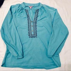 Lilly Pulitzer Top ~ Spa Blue~ Design around neck